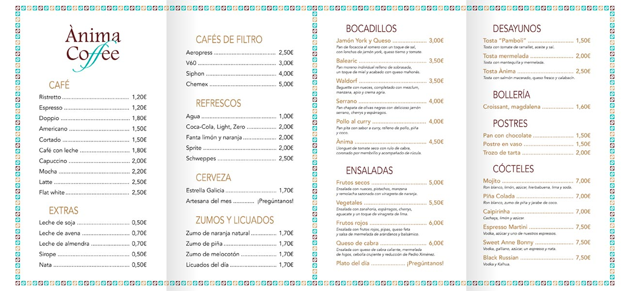 "Diseño de carta restaurante ""Ànima Coffee"""
