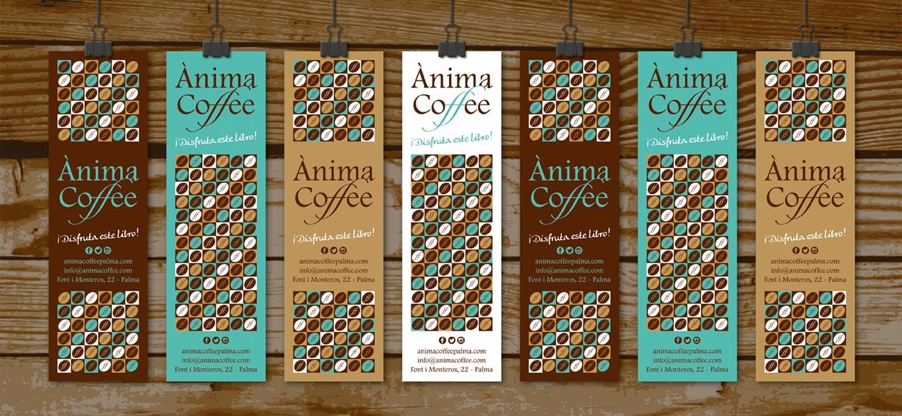 "Diseño de tarjeta marcapáginas ""Ànima Coffee"""