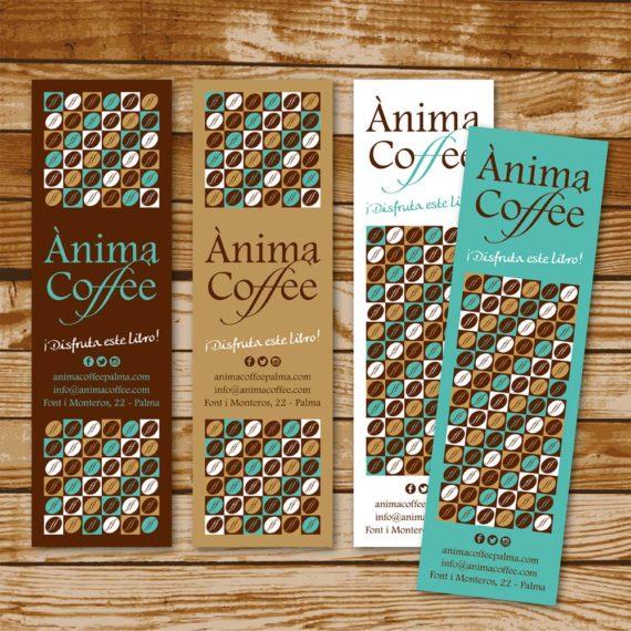 """Diseño de marca """"Ànima Coffee"""" tarjeta marcapáginas"""