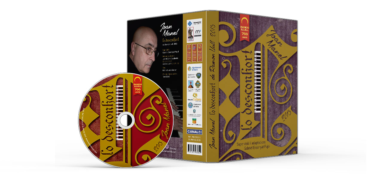 "Diseño CD/DVD carátula ""Lo Desconhort"" Ramon Llull"