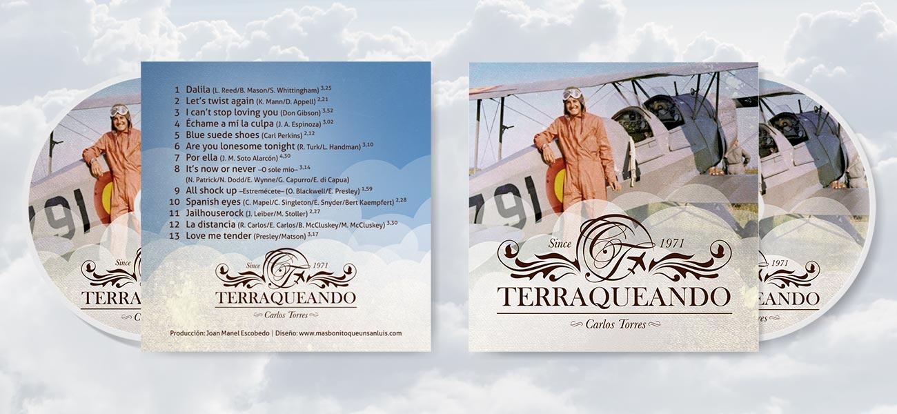 """Diseño de CD (carátula, galleta) """"Terraqueando"""" de Carlos Torres"""