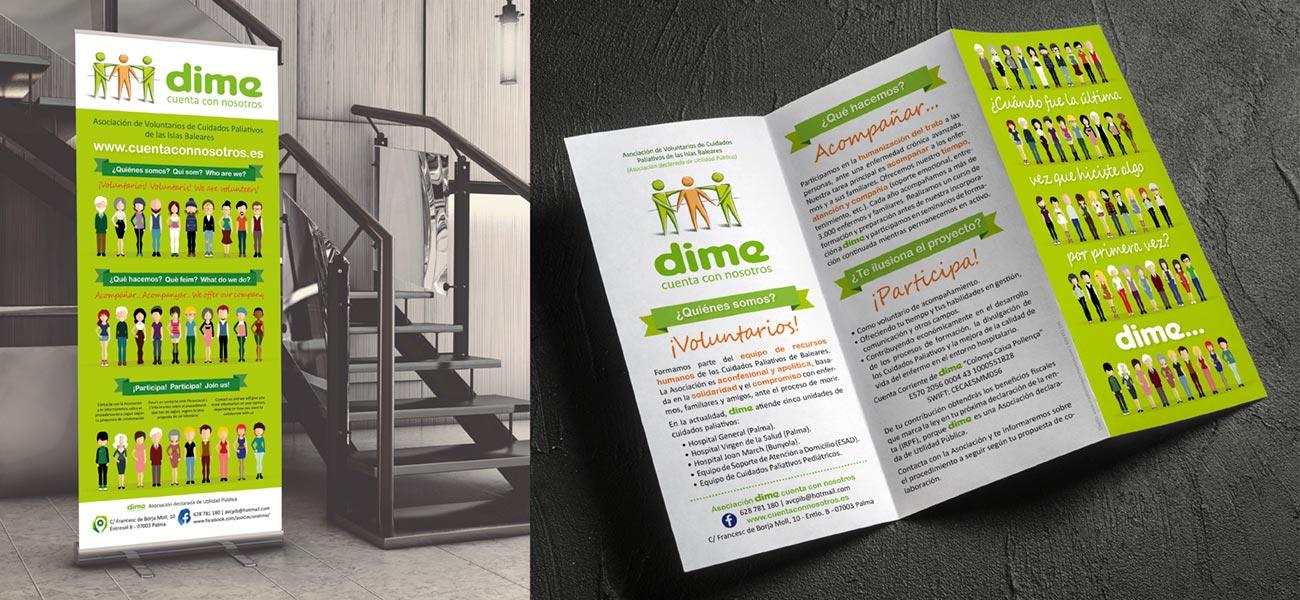 """Diseño editorial tríptico y roll-up """"DIME"""" Voluntarios Cuidados Paliativos"""