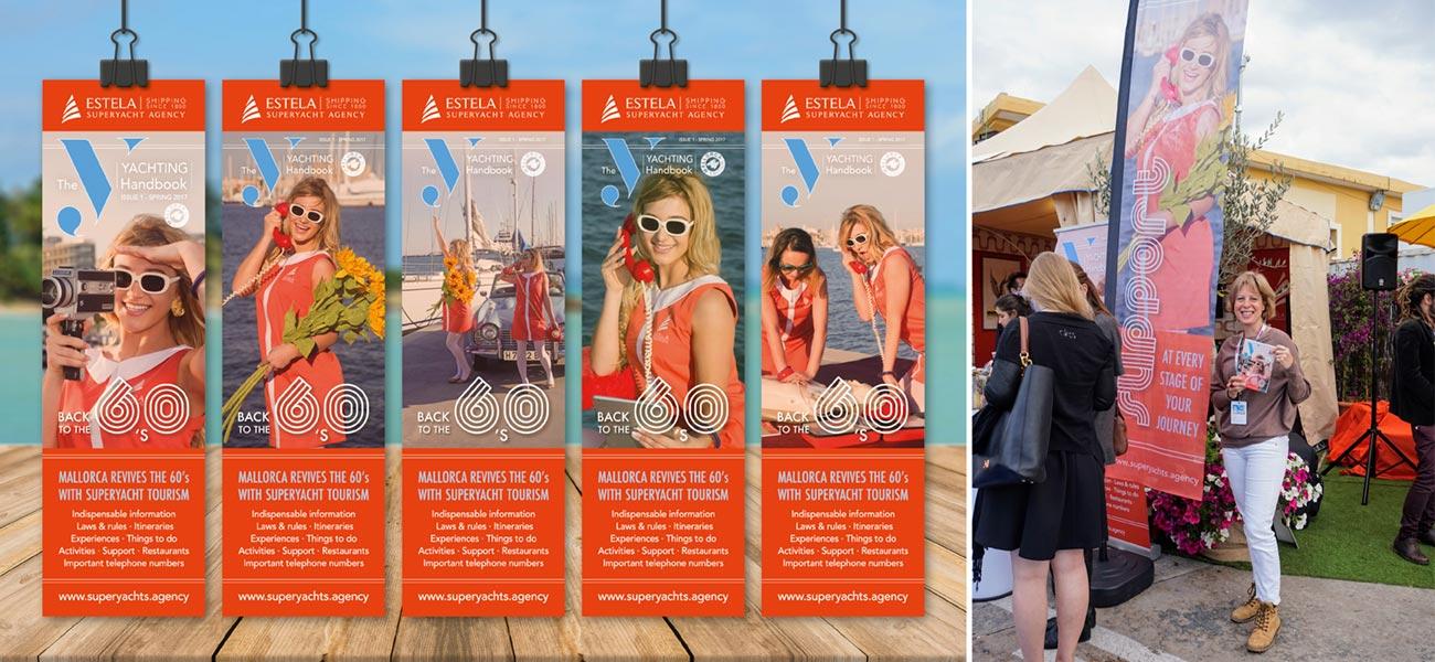 """Diseño de tarjeta marcapáginas banderola Estela Shipping """"Yachting Itineraries"""""""
