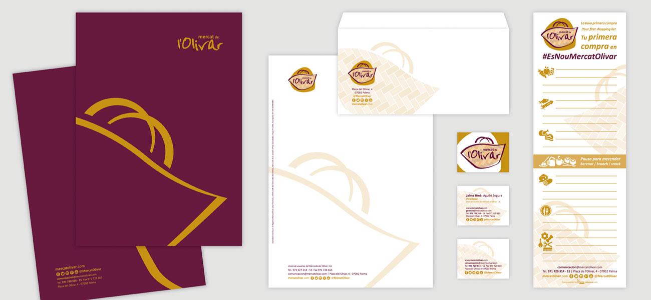 """Diseño de papelería """"Mercat de l'Olivar"""""""