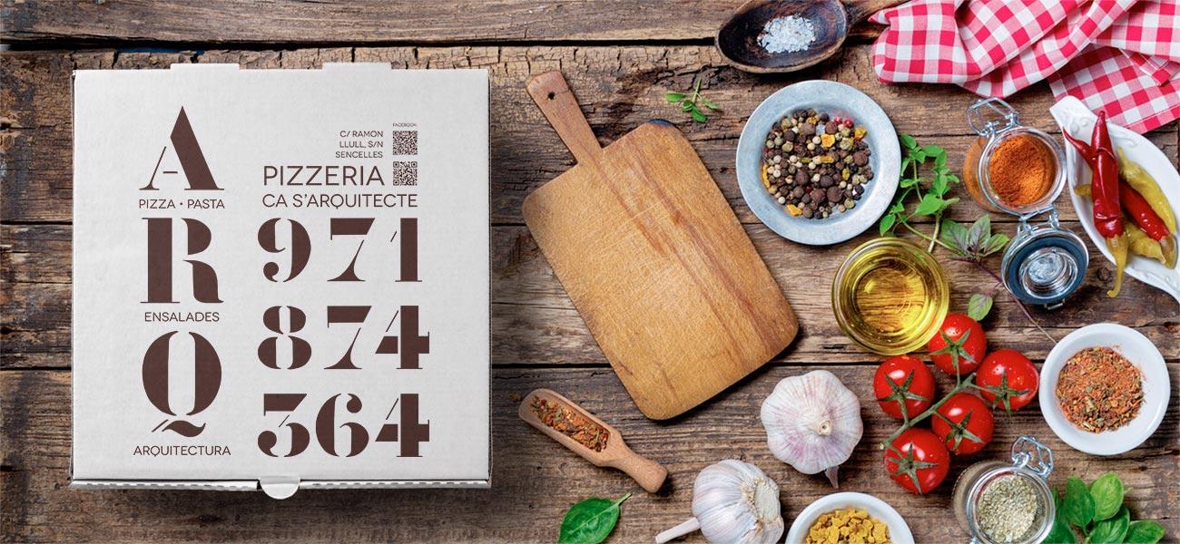 "Diseño caja de pizza ""Pizzeria Ca s'Arquitecte"" Sencelles, Mallorca"