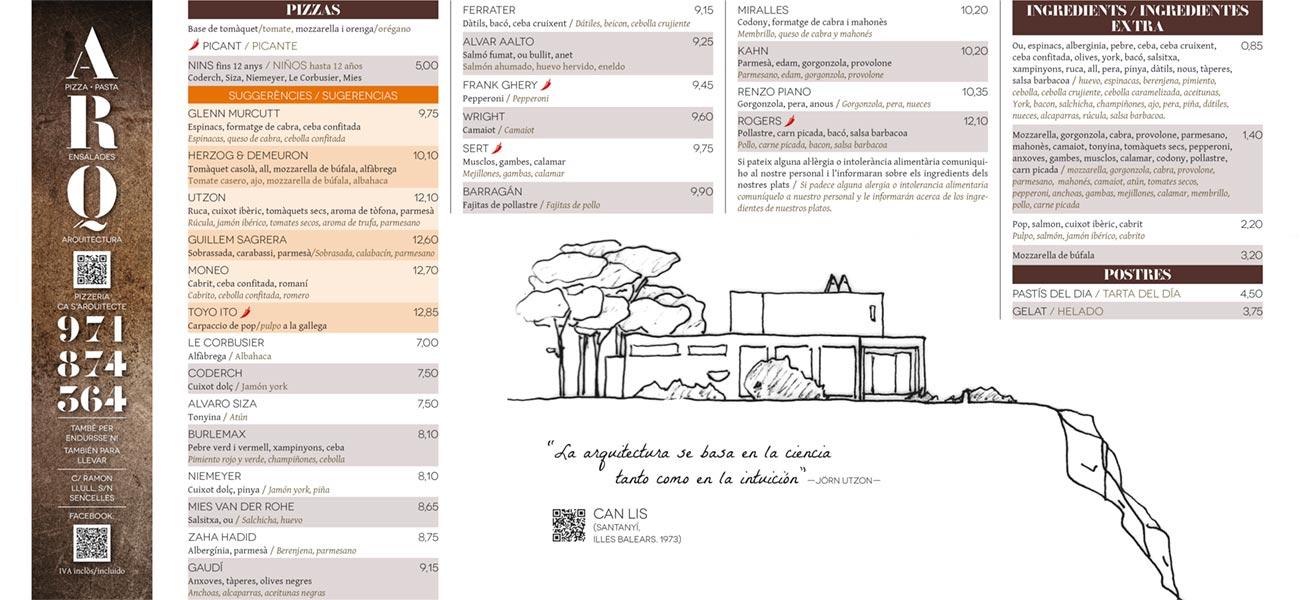 "Diseño carta restaurante ""Pizzeria Ca s'Arquitecte"" Sencelles, Mallorca"