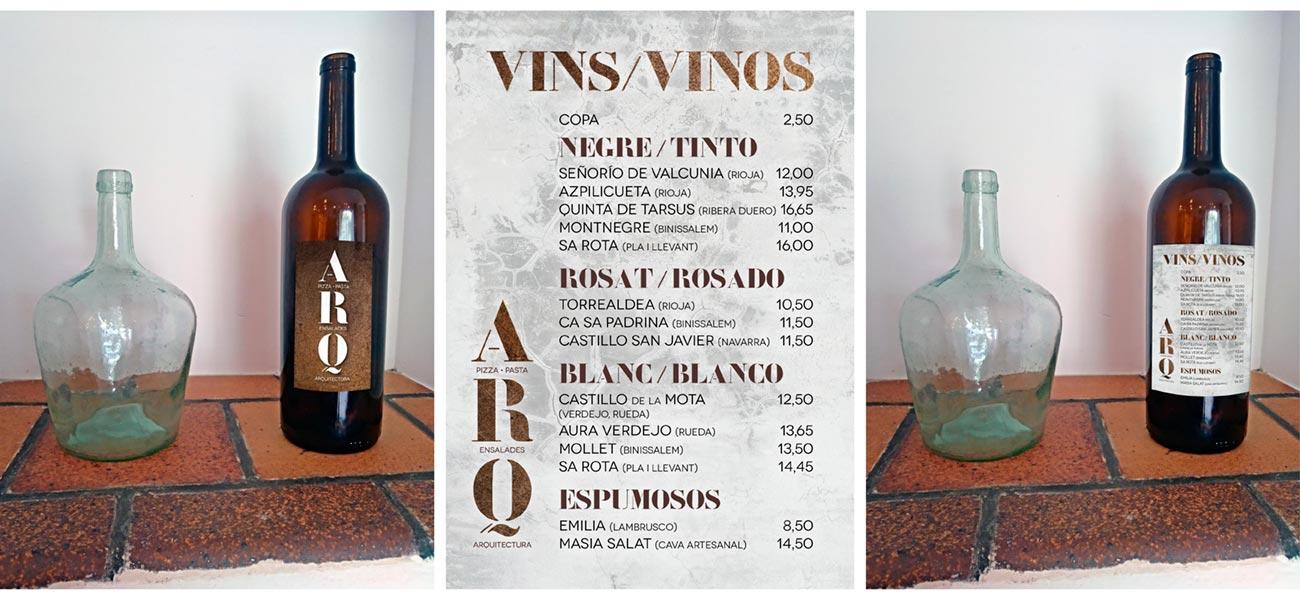 "Diseño carta de vinos ""Pizzeria Ca s'Arquitecte"" Sencelles, Mallorca"