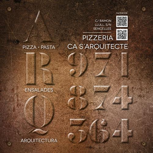 """Diseño identidad corporativa """"Pizzeria Ca s'Arquitecte"""" Sencelles, Mallorca"""