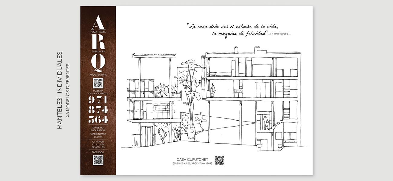 Diseño mantel individual papel Pizzeria Ca s'Arquitecte