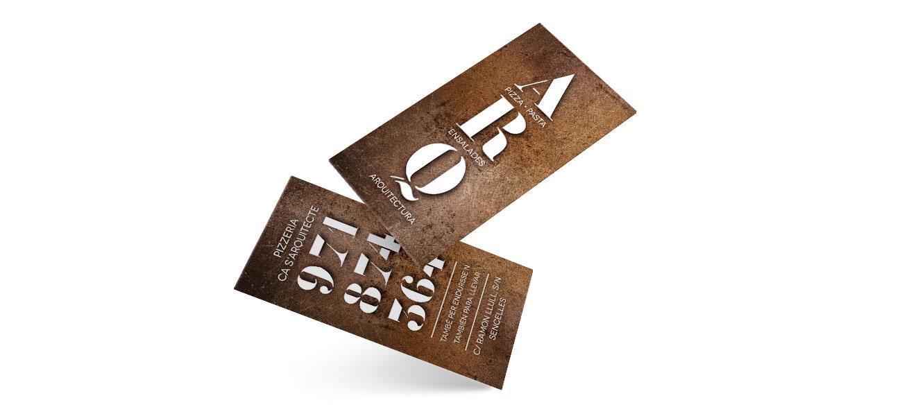 "Diseño tarjeta ""Pizzeria Ca s'Arquitecte"" Sencelles, Mallorca"