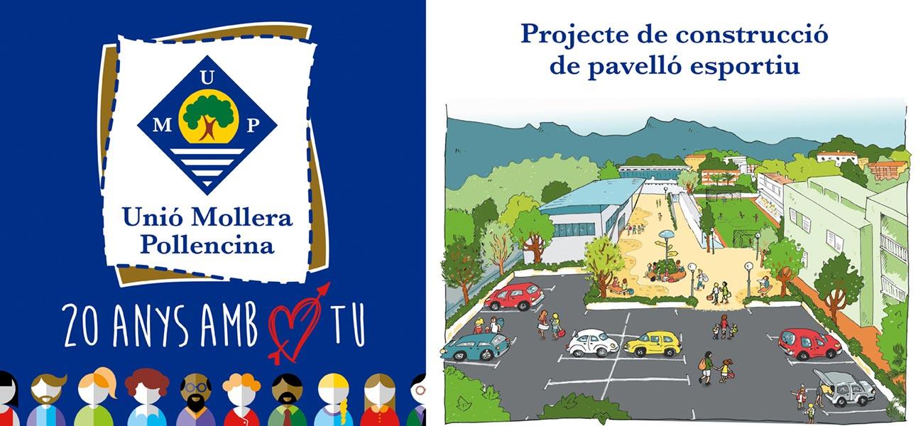 """Diseño cartel """"Unió Mollera Pollencina"""" UMP """"20 anys amb tu"""""""
